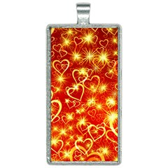 Pattern Valentine Heart Love Rectangle Necklace