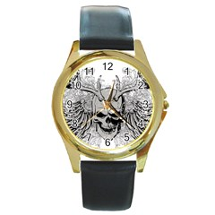 Skull Vector Round Gold Metal Watch