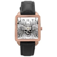 Skull Vector Rose Gold Leather Watch