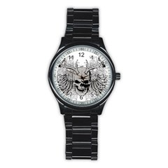 Skull Vector Stainless Steel Round Watch