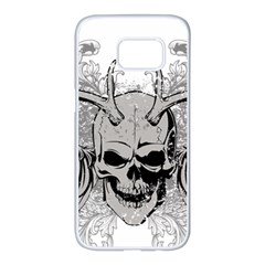 Skull Vector Samsung Galaxy S7 Edge White Seamless Case