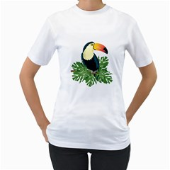 Tropical Birds Women s T Shirt (white) (two Sided)
