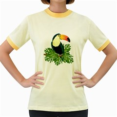Tropical Birds Women s Fitted Ringer T Shirt