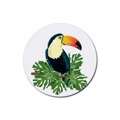 Tropical Birds Rubber Round Coaster (4 Pack)