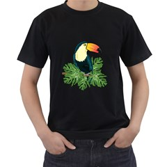 Tropical Birds Men s T Shirt (black) (two Sided)
