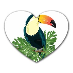 Tropical Birds Heart Mousepads