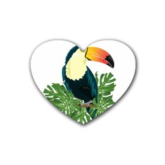 Tropical Birds Rubber Coaster (heart)