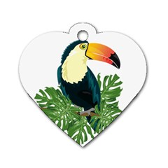Tropical Birds Dog Tag Heart (two Sides)