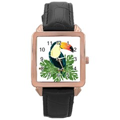 Tropical Birds Rose Gold Leather Watch