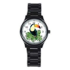 Tropical Birds Stainless Steel Round Watch