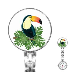Tropical Birds Stainless Steel Nurses Watch