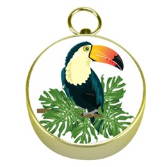 Tropical Birds Gold Compasses