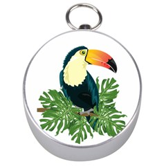 Tropical Birds Silver Compasses