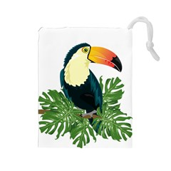 Tropical Birds Drawstring Pouch (large)