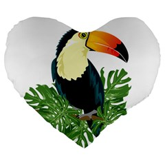 Tropical Birds Large 19  Premium Flano Heart Shape Cushions