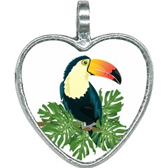 Tropical Birds Heart Necklace