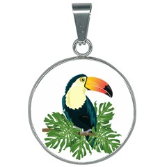 Tropical Birds 25mm Round Necklace