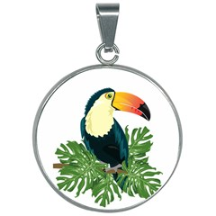 Tropical Birds 30mm Round Necklace