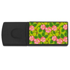 Roses Flowers Pattern Bud Pink Rectangular Usb Flash Drive by Pakrebo