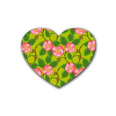 Roses Flowers Pattern Bud Pink Rubber Coaster (heart)