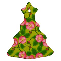 Roses Flowers Pattern Bud Pink Ornament (christmas Tree)