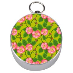 Roses Flowers Pattern Bud Pink Silver Compasses