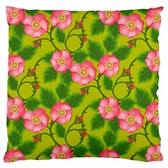 Roses Flowers Pattern Bud Pink Large Flano Cushion Case (one Side)
