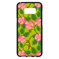 Roses Flowers Pattern Bud Pink Samsung Galaxy S8 Plus Black Seamless Case by Pakrebo