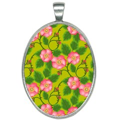 Roses Flowers Pattern Bud Pink Oval Necklace by Pakrebo
