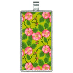 Roses Flowers Pattern Bud Pink Rectangle Necklace