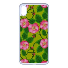 Roses Flowers Pattern Bud Pink Apple Iphone Xs Max Seamless Case (white)