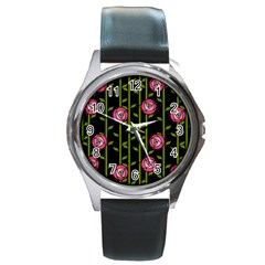Rose Abstract Rose Garden Round Metal Watch