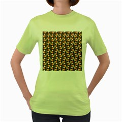Pattern Abstract Fabric Wallpaper Women s Green T Shirt