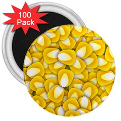 Pattern Background Corn Kernels 3  Magnets (100 Pack) by Pakrebo