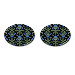 Pattern Thistle Structure Texture Cufflinks (oval)