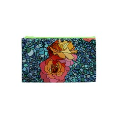 Pattern Rose Yellow Background Cosmetic Bag (xs)
