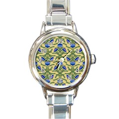 Pattern Thistle Structure Texture Round Italian Charm Watch by Pakrebo