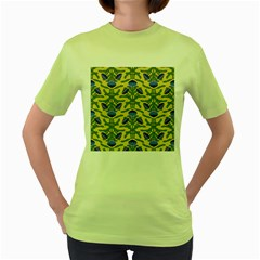 Pattern Thistle Structure Texture Women s Green T Shirt