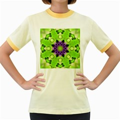 Pattern Abstract Background Art Green Women s Fitted Ringer T Shirt