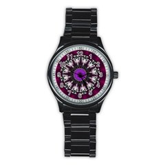 Kaleidoscope Round Circle Geometry Stainless Steel Round Watch