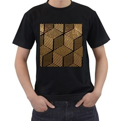 Cubes Light Geometry Shines Men s T Shirt (black) (two Sided)