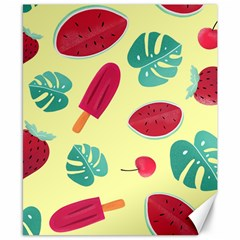 Watermelon Leaves Strawberry Canvas 8  X 10