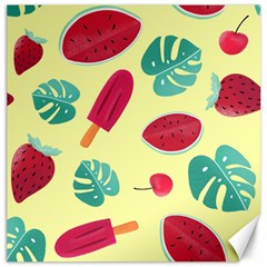 Watermelon Leaves Strawberry Canvas 12  X 12