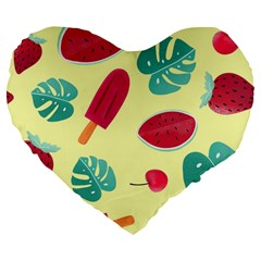 Watermelon Leaves Strawberry Large 19  Premium Flano Heart Shape Cushions