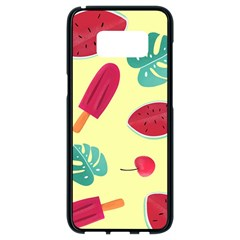 Watermelon Leaves Strawberry Samsung Galaxy S8 Black Seamless Case