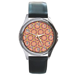 Pattern Decoration Abstract Flower Round Metal Watch