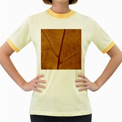 Leaf Fall Foliage Nature Orange Women s Fitted Ringer T Shirt