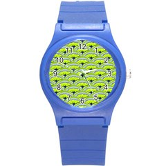 Texture Green Plant Leaves Arches Round Plastic Sport Watch (s)