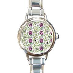 Default Texture Background Floral Round Italian Charm Watch
