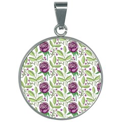 Default Texture Background Floral 30mm Round Necklace by Pakrebo
